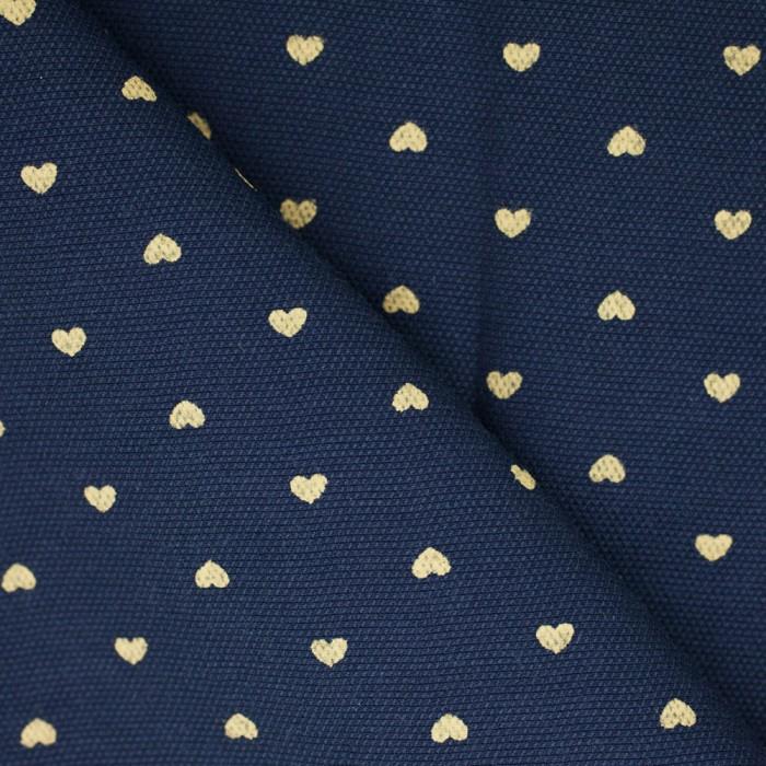 tissu-coton-imprime-coeur-bleu-nuit-ocre-x-10cm